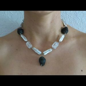 New Tourmaline, quartz & biwa pearls necklace